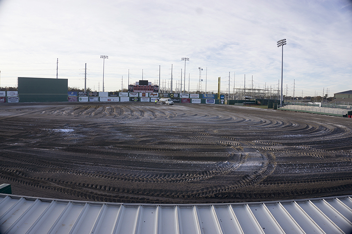 The LU baseball field, Vincent-Beck, is under construction as the field receives new turf, Tuesday. The renovations began in October and will be finished before the start of the 2019 baseball season. UP photo by Cassandra Jenkins