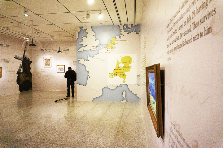 the opening room of the exhibit boasts a large map of the areas van Gogh travelled in during his career , as well as several reproductions of his most famous paintings. UP photo by Cassandra Jenkins