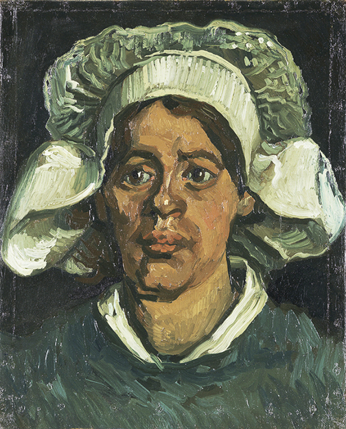 "Vincent van Gogh, ""Head of a Woman Wearing a White Cap,"" November 1884–May 1885, oil on canvas, Kröller-Müller Museum, Otterlo, the Netherlands."