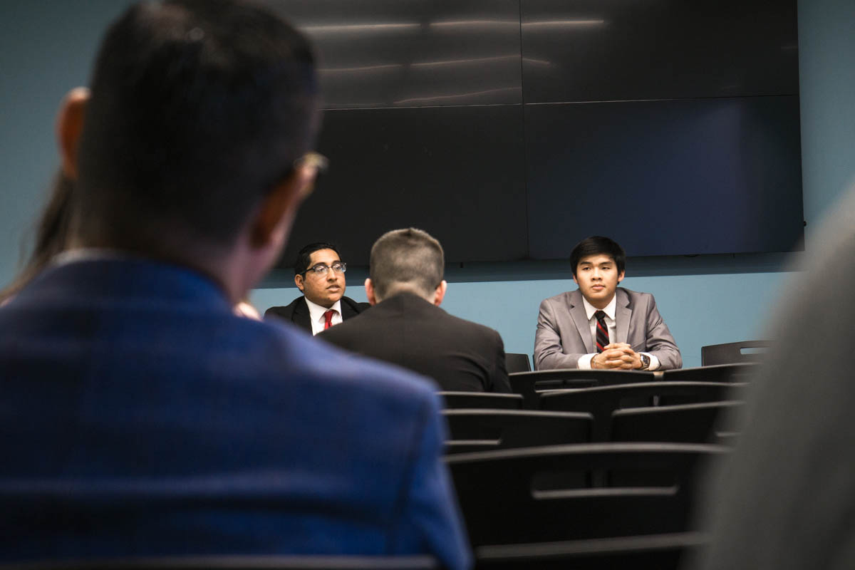Cesar Delgado (left) and Edward Doan (right) speaking at the Student Government Association debate in Lamar University's Setzer Center, Mar 22. UP photo by Lakota Jatos