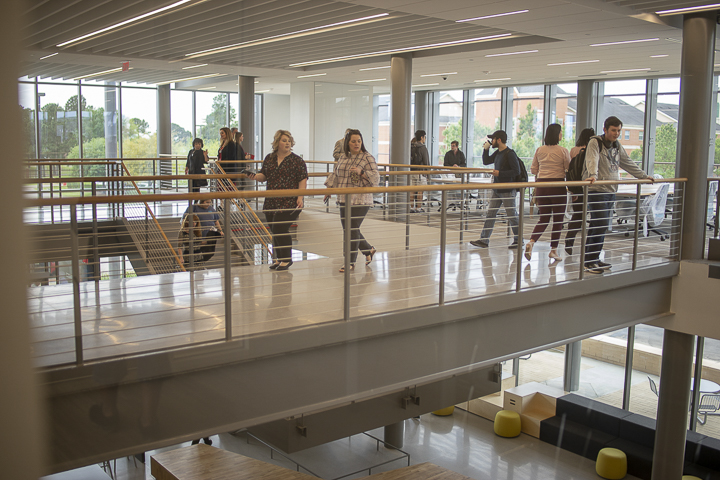 Students, faculty and staff, take a tour of the new facility and its state-of-the-art amenities. UP photo by Noah Dawlearn