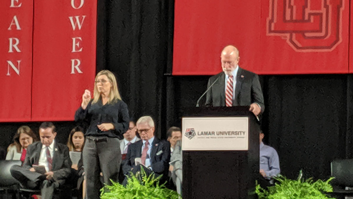 Lamar University President Evans speaks at the annual convocation, Aug. 20, in the Montagne Center. UP photo by Olivia Malick