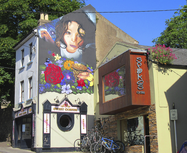 One of the large murals that adorn the walls around Waterford, Ireland. UP photo by Susan Salvo