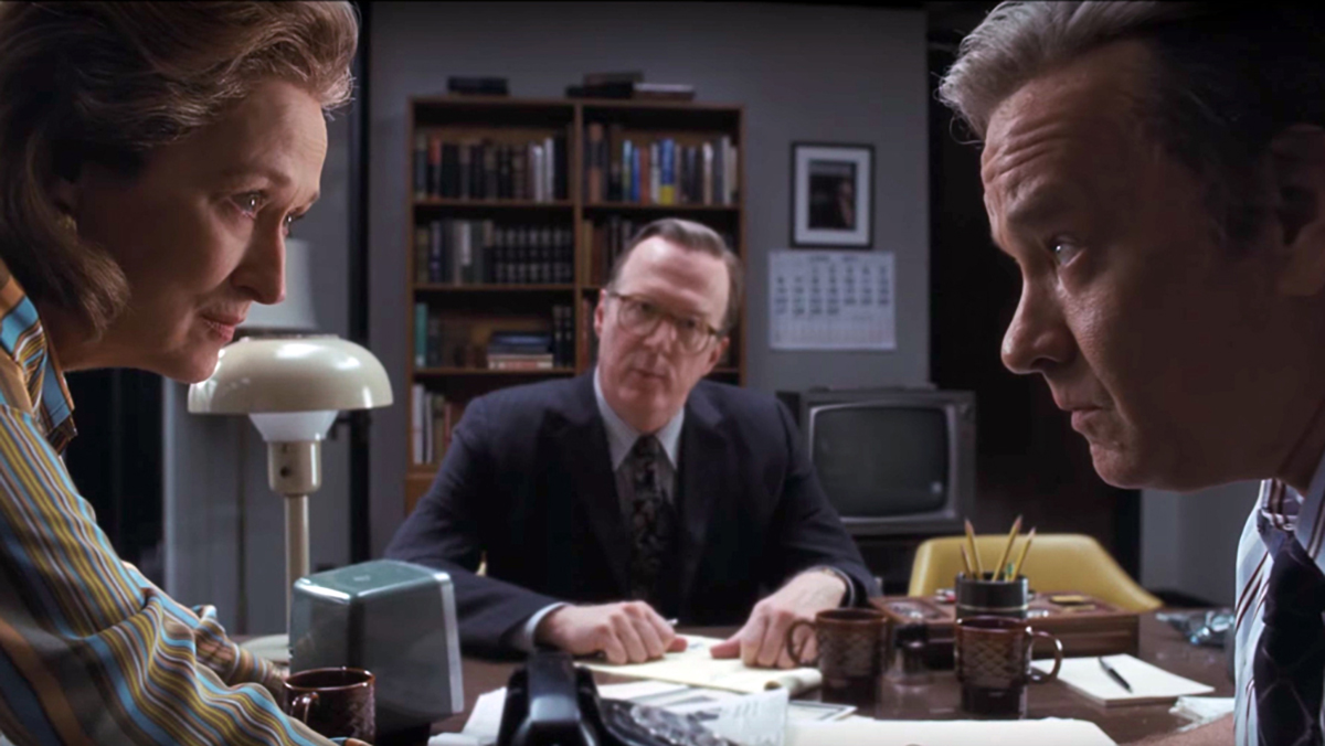 "Meryl Streep, left, Tracey Letts and Tom Hanks in a publicity still from ""The Post"""