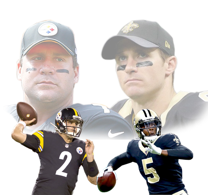 Above we see Ben Roethlisberger and Drew Brees looking over at their replacements since they are injured. UP graphic by Cade Smith