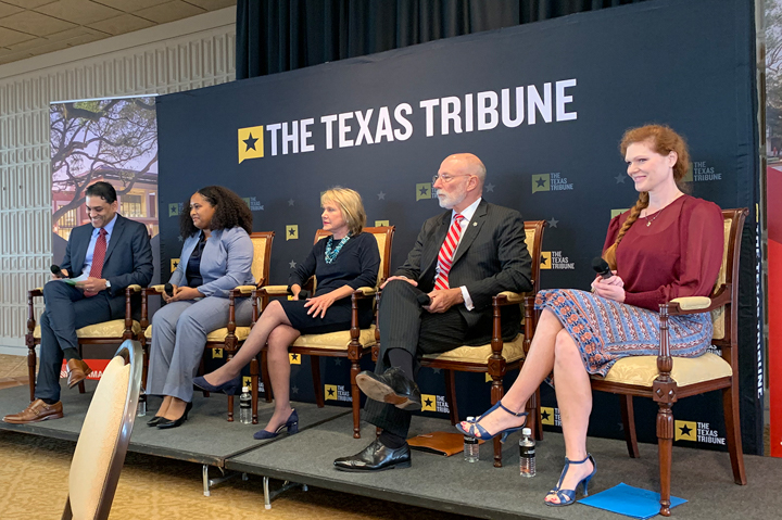 Texas Tribune editor Ayan Mittra, left, moderated a panel discussion on social mobility in higher education featuring Ashley Williams, Millicent Valek, Kenneth Evans and Ginger Gossman, Monday, in Gray Library. UP photo by Olivia Malick