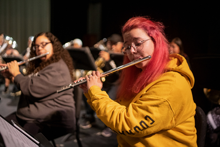 LU band members rehearse for their first concert of the 2019-20 season, Oct. 17, in the University Theatre. UP photos by Noah Dawlearn