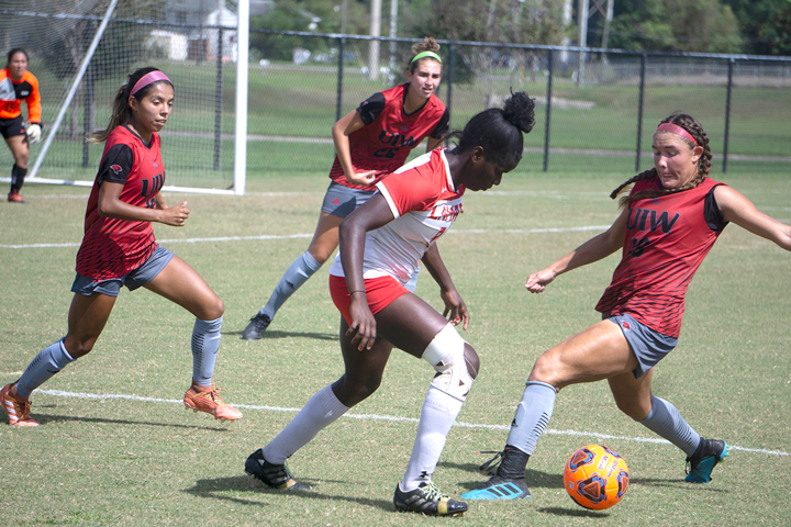 LU's Esther Okoronkwo dribbles the ball during Sunday's 3-2 edge of the University of the Incarnate Word at the LU Soccer Complex. Okoronkwo was responsible for LU's comeback in the second half. UP photo by Cade Smith