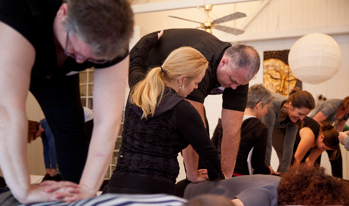 Students and instructors work on the art and science of massage at Jing in Brighton, England. Courtesy photo