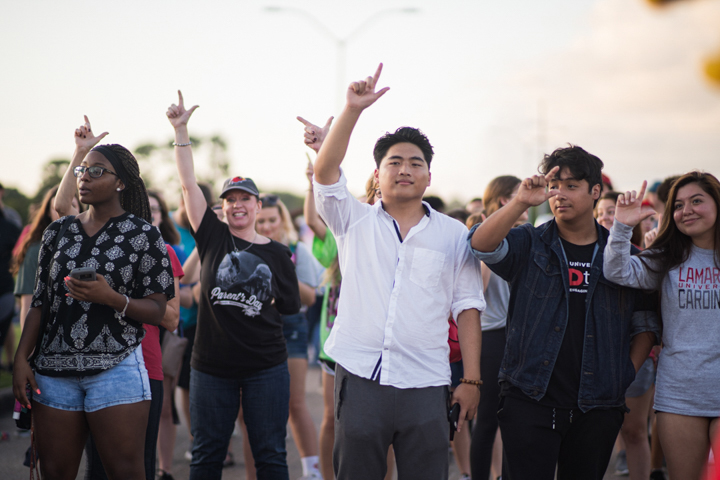 Students cheers at Lamar University's Homecoming Pep Rally and Bonfire, Sept. 27. UP photo by Noah Dawlearn