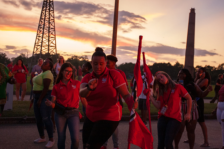 Students show their school spirit during Lamar University's Pep Rally and Bonfire, Sept. 27. UP photo by Noah Dawlearn