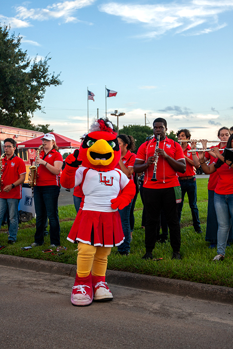 Lou, the Lamar University mascot, shows her spirit during the Homecoming Pep Rally and Bonfire, Sept. 27. UP photo by Delicia Rocha