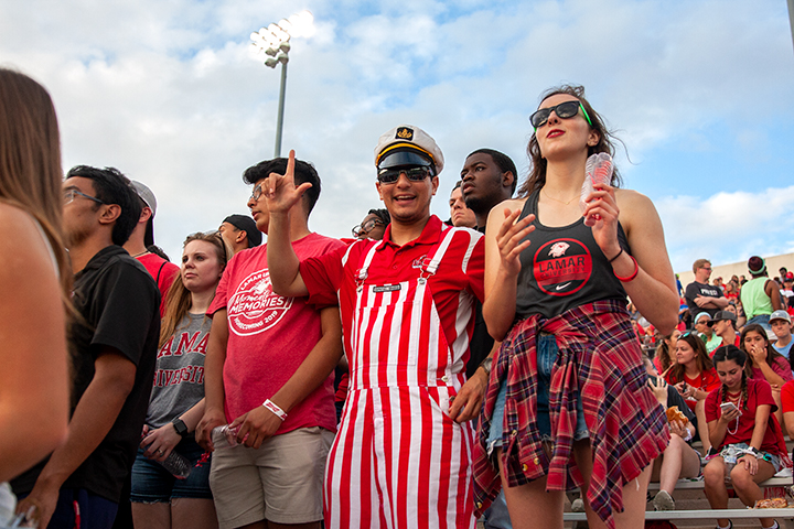 Lamar University students show their spirit during the Homecoming Pep Rally and Bonfire, Sept. 27. UP photo by Delicia Rocha