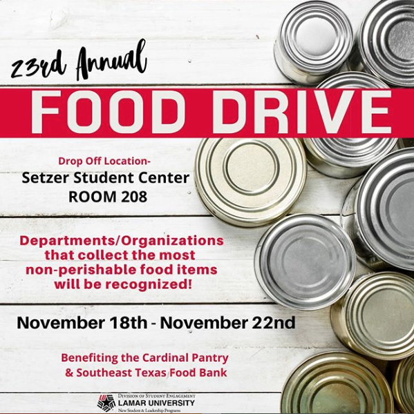 23rd Annual Food Drive. New Student and Leadership Programs