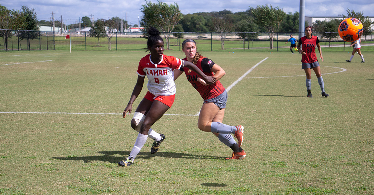 LU's Esther Okoronkwo gets ready to head the ball during an SLC game against the University of the Incarnate Word, Oct. 20, at the LU Soccer Complex. UP file photo by Cade Smith