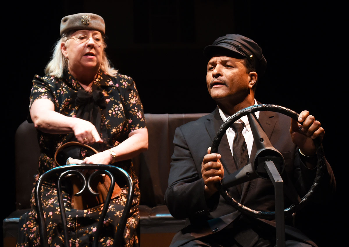"Charlene Hudgins plays the title character alongside H. Clay Williams as Hoke Coleburn in BCP's ""Driving Miss Daisy."""