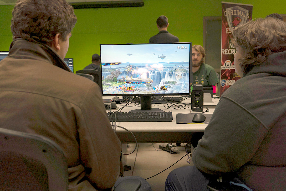 Students compete in the Esports Lab, 208 Maes, Jan. 28, to prepare for upcoming Super Smash Brothers tournaments. UP photo by Delicia Rocha