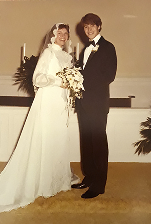 Ruth and O'Brien Stanley on their wedding day in 1981, above, and in the Comm Auditorium in 2020.