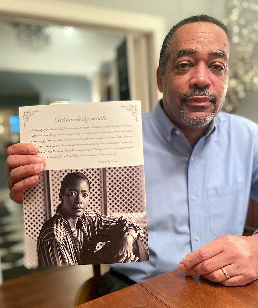 David Willard holds a picture of his mother, Pat, a long-time Beaumont educator and activist who was one of the first graduates after Lamar's integration. UP photo by Juliana Abiro