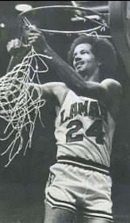 Norman Bellard cuts down the net after the Lamar Cardinals won the Southland Conference in 1979 to advance to the NCAA tournament. Photo courtesy of Norman Bellard