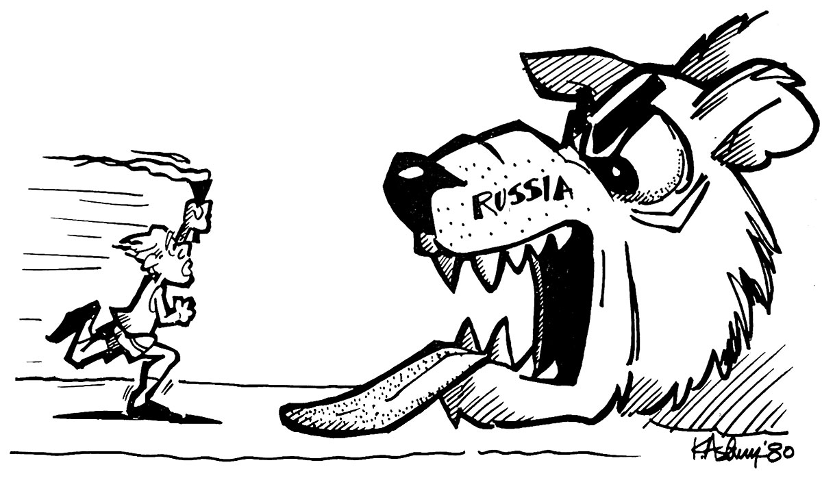 Kelly Asbury's 1980 cartoon in the University Press comments on the standoff between U.S. President Jimmy Carter and Russia which led to the U.S. boycotting the Moscow summer Olympics.