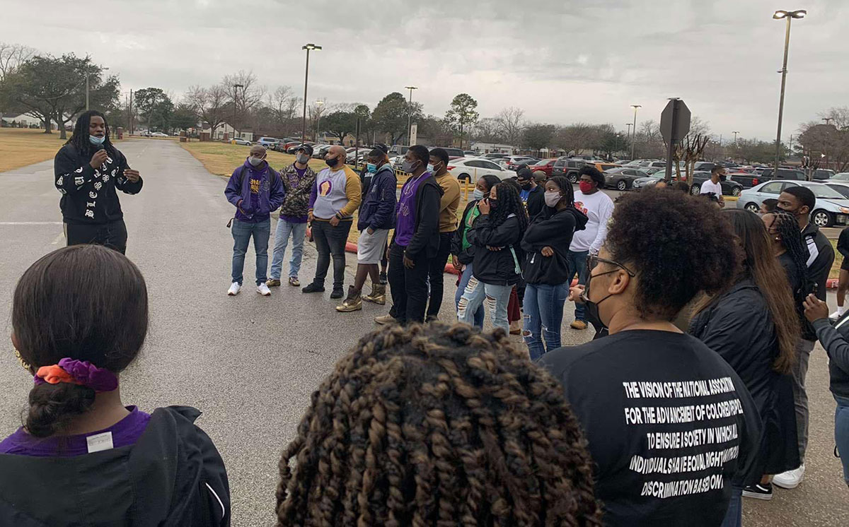 Students march to highlight Lamar University's Black History, Feb. 25. UP photo by Abraham Asabi