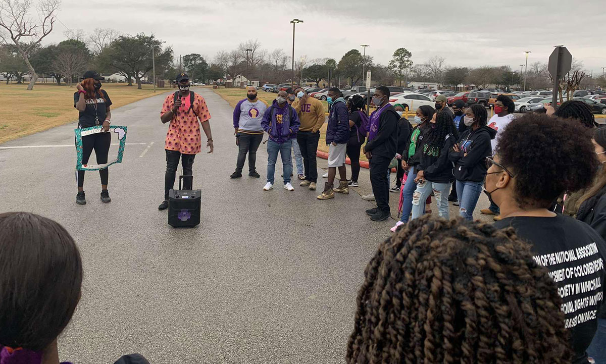 Students march around campus to highlight Lamar University's Black History, Feb. 25. UP photo by Abraham Asabi